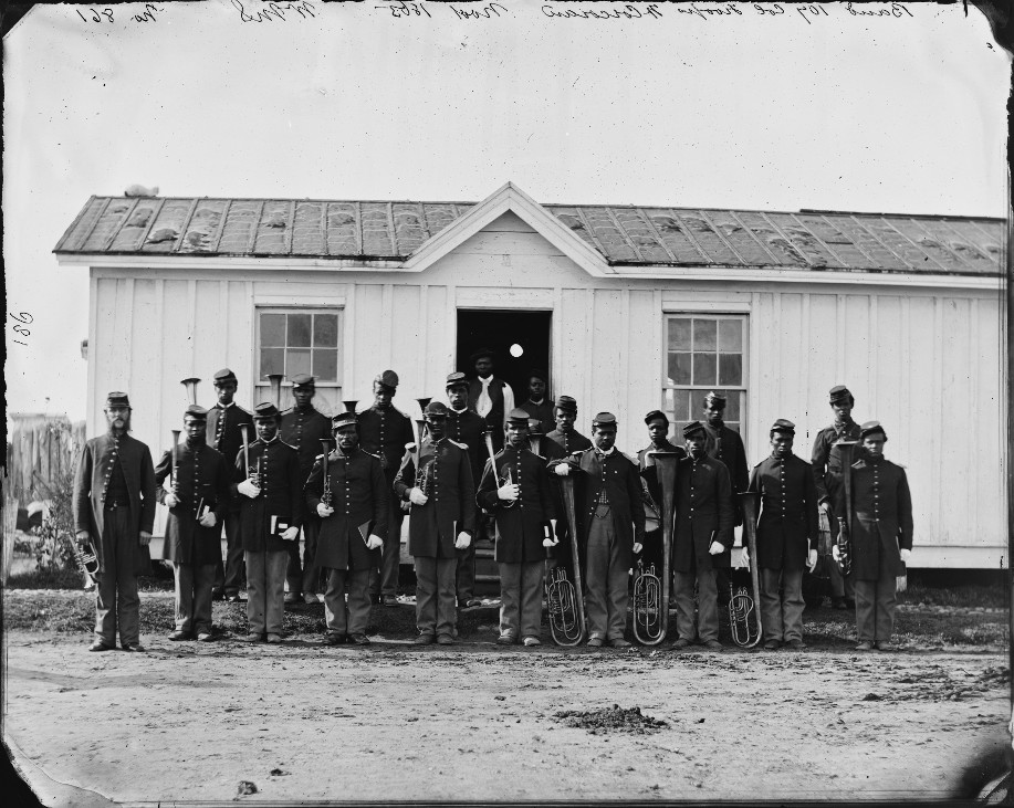 Arlington, Va. Band of 107th U.S. Colored Infantry at Fort Corcoran.  Photo: Library of Congress